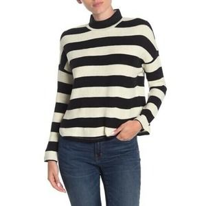 Socialite Striped Mock Neck Sweater Black White